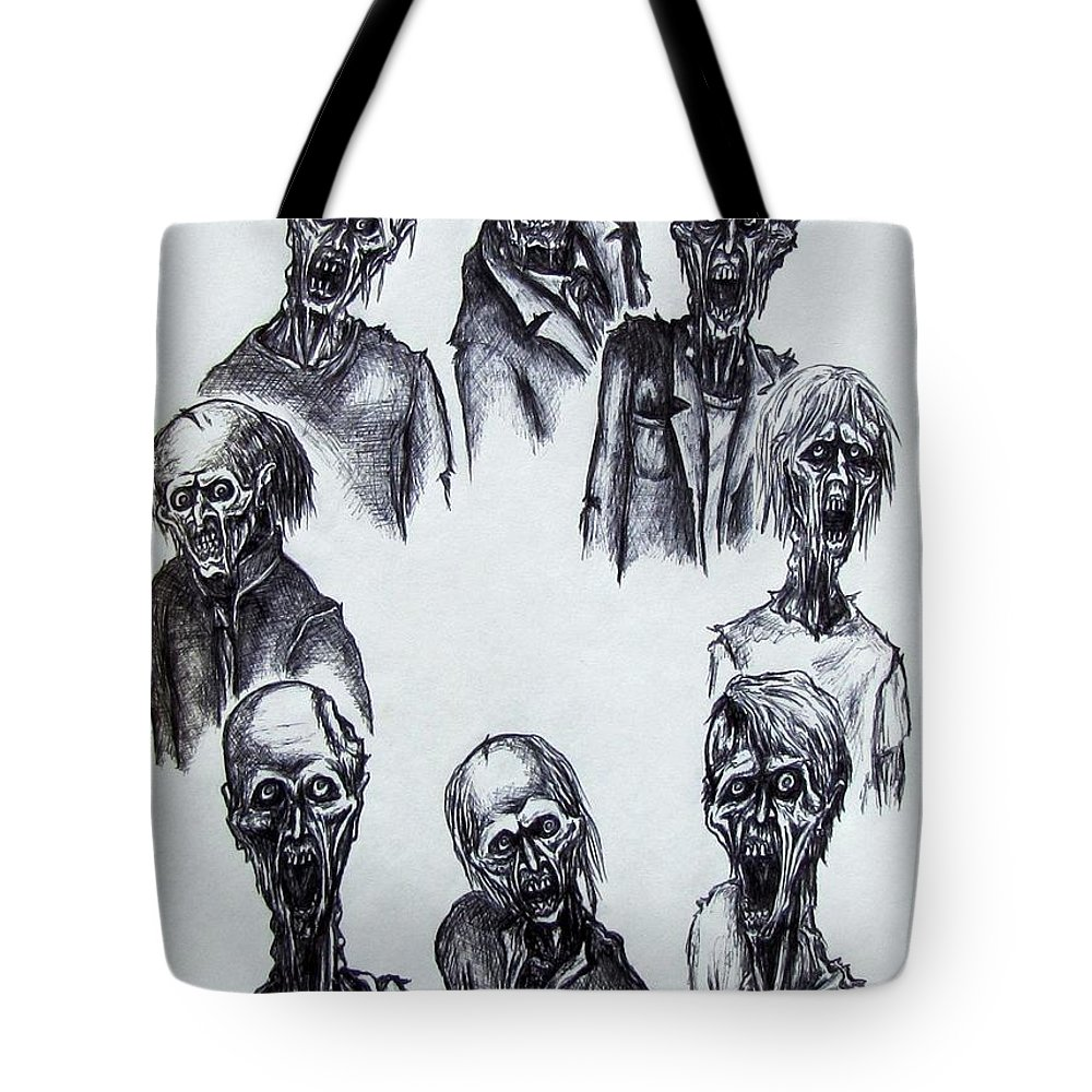 Michael Tote Bag featuring the drawing Zombies by Michael TMAD Finney