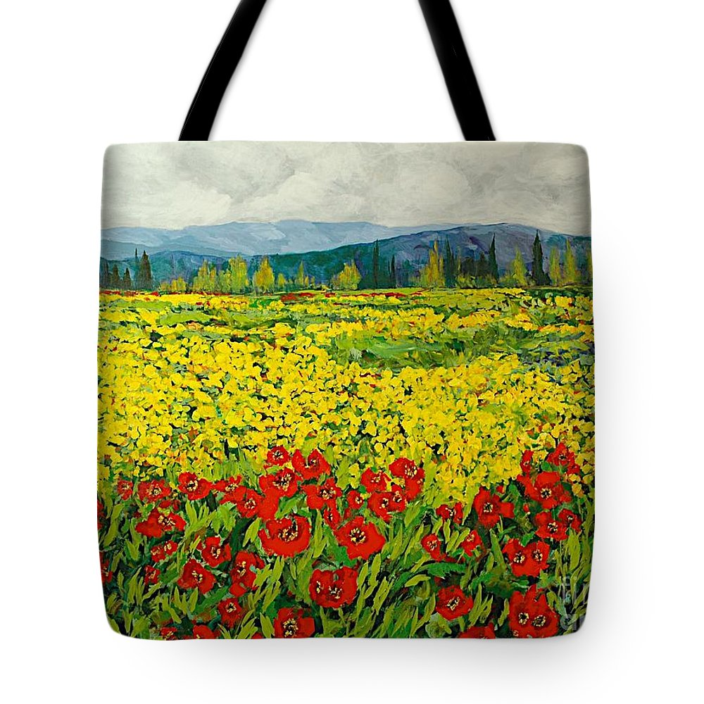 Landscape Tote Bag featuring the painting Zone Des Fleur by Allan P Friedlander