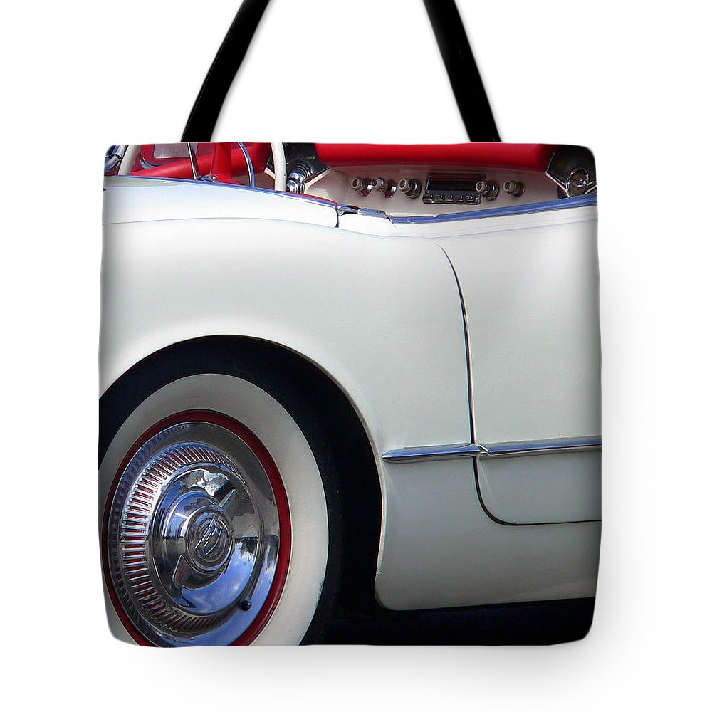 Chevy Corvette Tote Bag featuring the photograph Classic White Corvette by Jeff Lowe