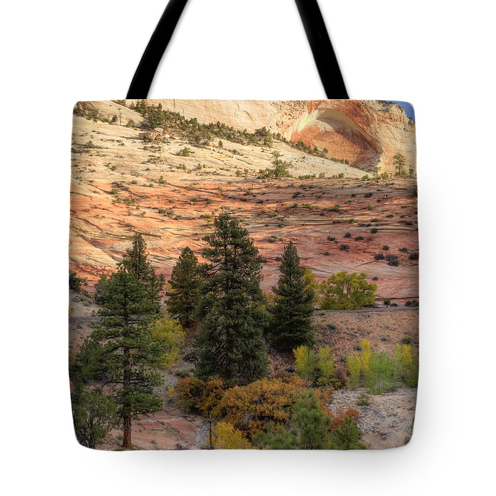 Hdr Tote Bag featuring the photograph East Zion Canyon Hdr by Sandra Bronstein