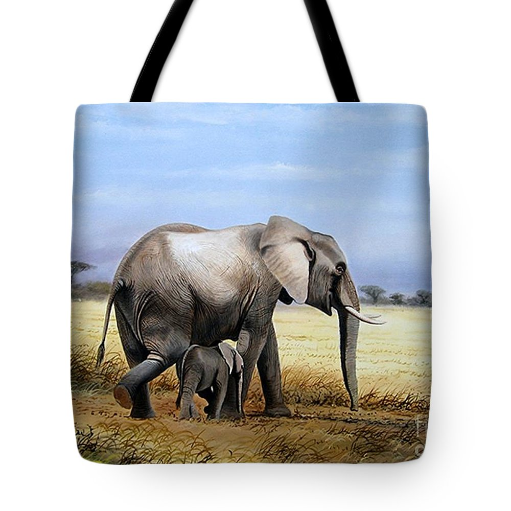 Elephants Tote Bag featuring the painting Elephant And Her Child by Francis Njoroge