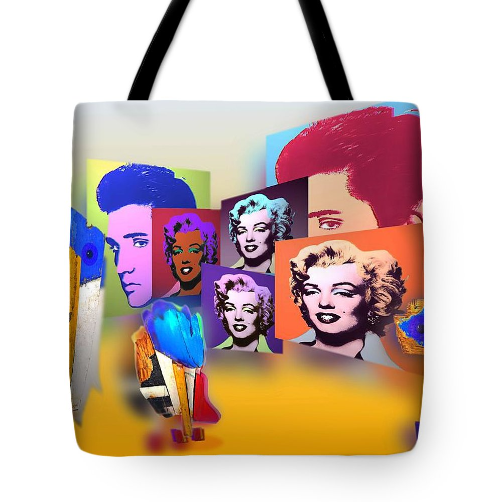 Marilyn Tote Bag featuring the painting Pop Art Pop Up by Charles Stuart