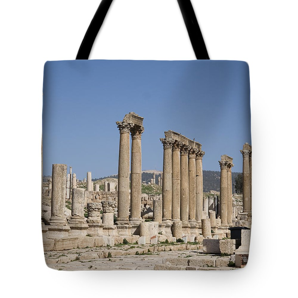Columns Tote Bag featuring the photograph The Oval Plaza In The Ruins by Taylor S. Kennedy