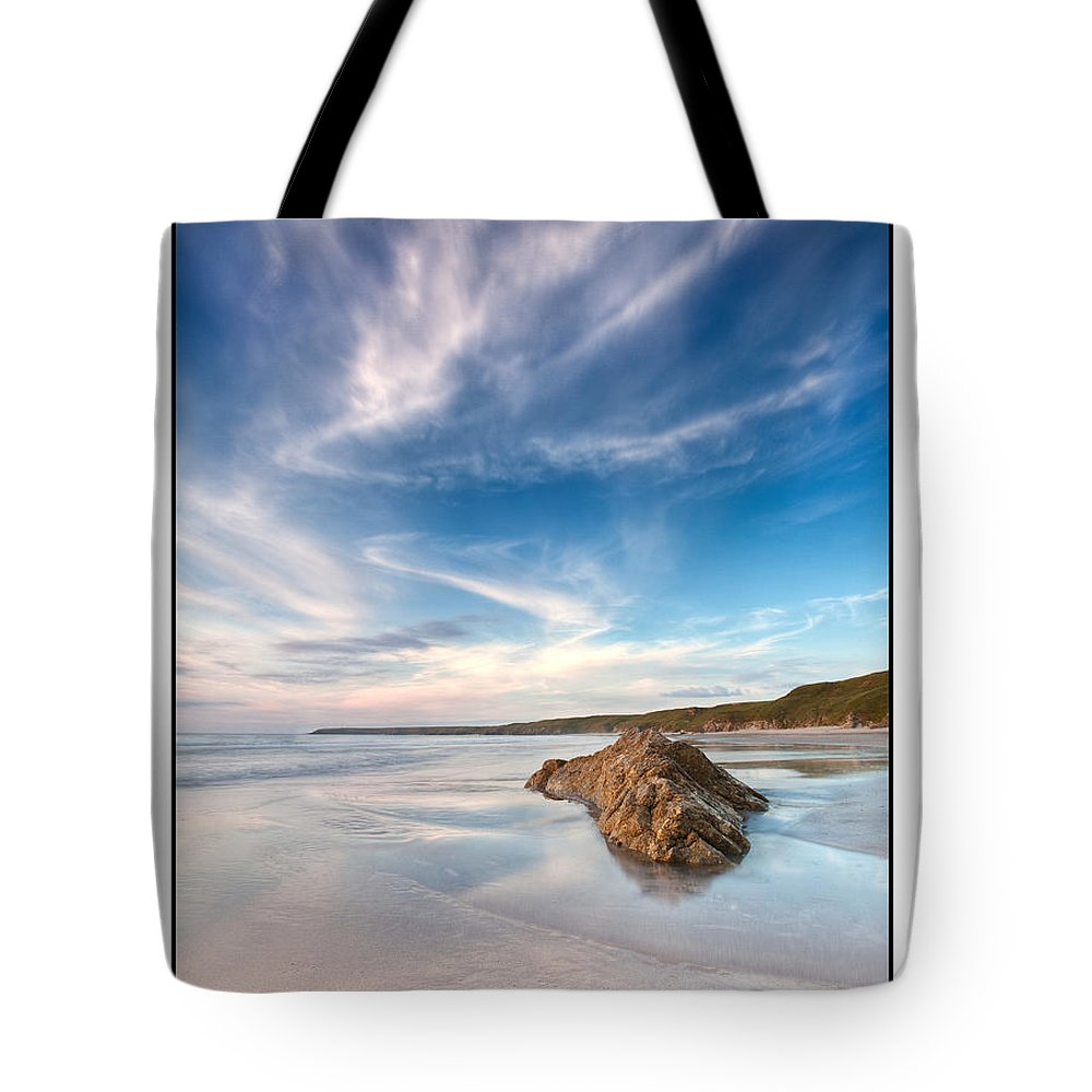 Seascape Tote Bag featuring the photograph Welsh Coast - Porth Colmon by Beverly Cash
