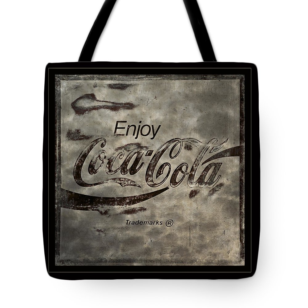 Coca Cola Tote Bag featuring the photograph Coca Cola Sign Grungy Red Retro Style by John Stephens