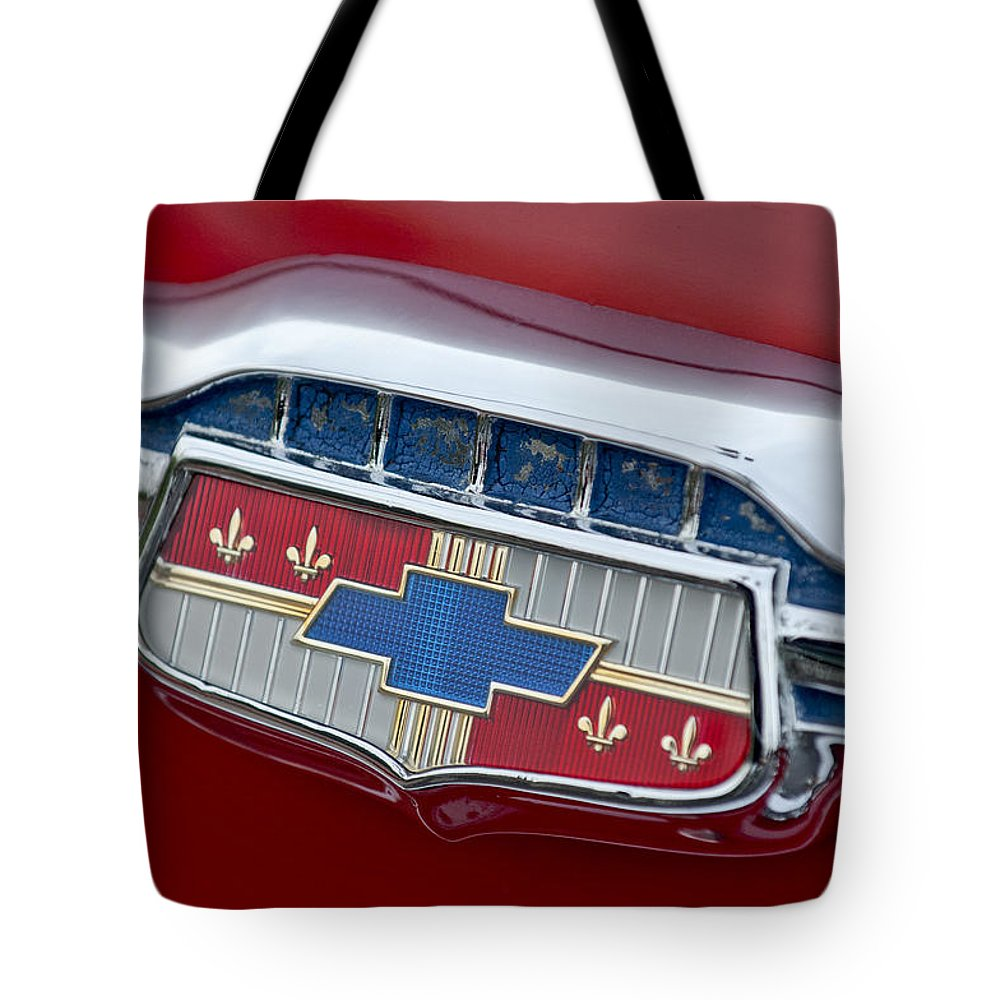 1954 Chevrolet Tote Bag featuring the photograph 1954 Chevrolet Emblem by Jill Reger