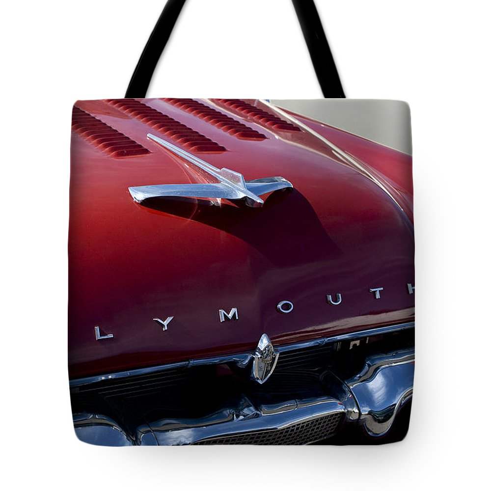 1956 Plymouth Tote Bag featuring the photograph 1956 Plymouth Hood Ornament by Jill Reger