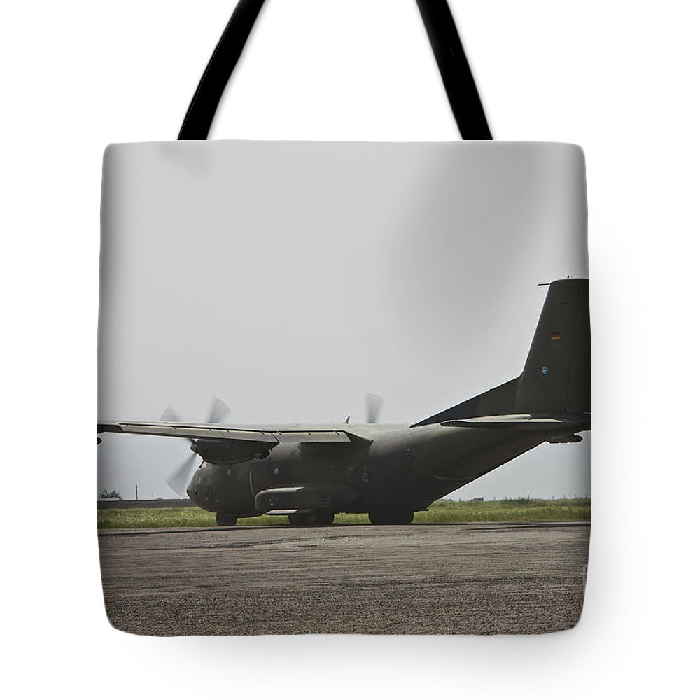 War Tote Bag featuring the photograph A German Air Force Transall C-160 Taxis by Terry Moore