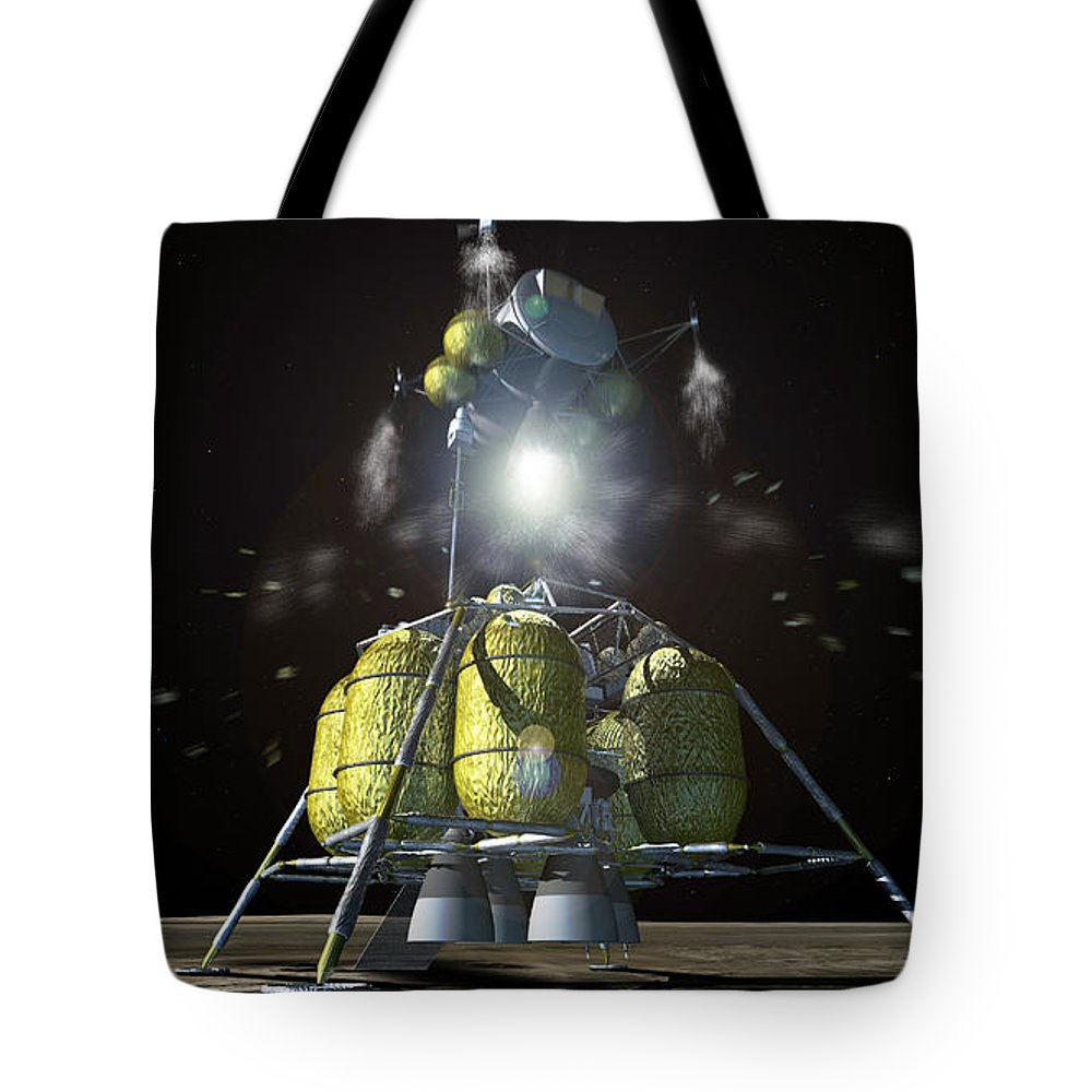 Color Image Tote Bag featuring the digital art Artist Rendition Of A New Spaceship by Stocktrek Images