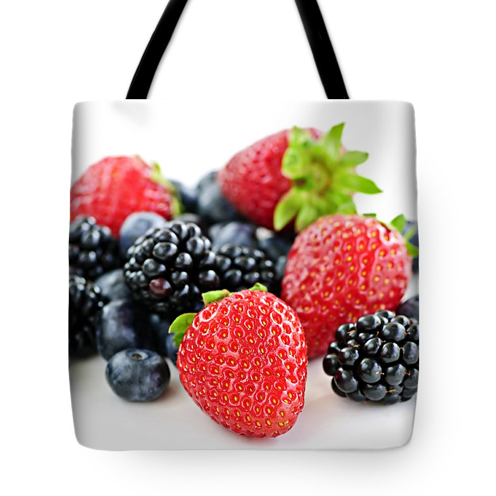 Berries Tote Bag featuring the photograph Assorted Fresh Berries by Elena Elisseeva