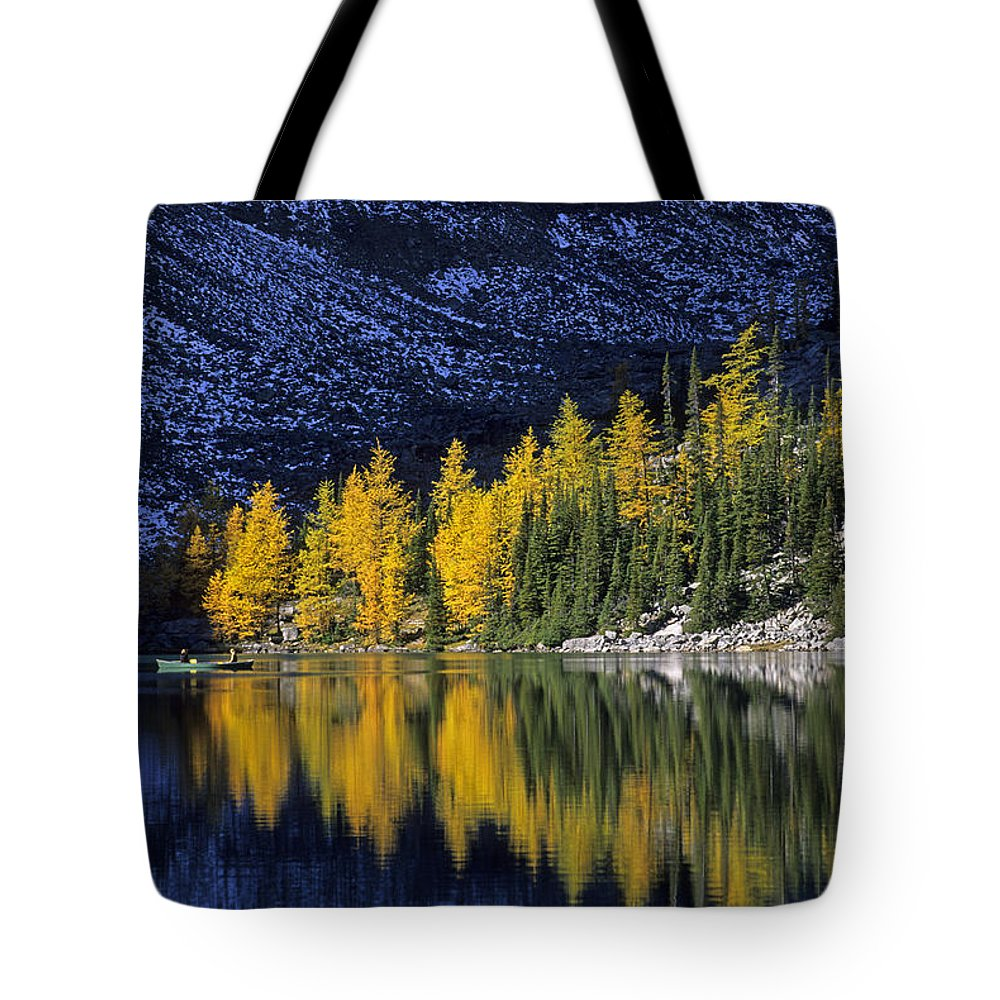 Banff Tote Bag featuring the photograph Autumn, Alpine Larch Trees, Lake Agnes by John Sylvester
