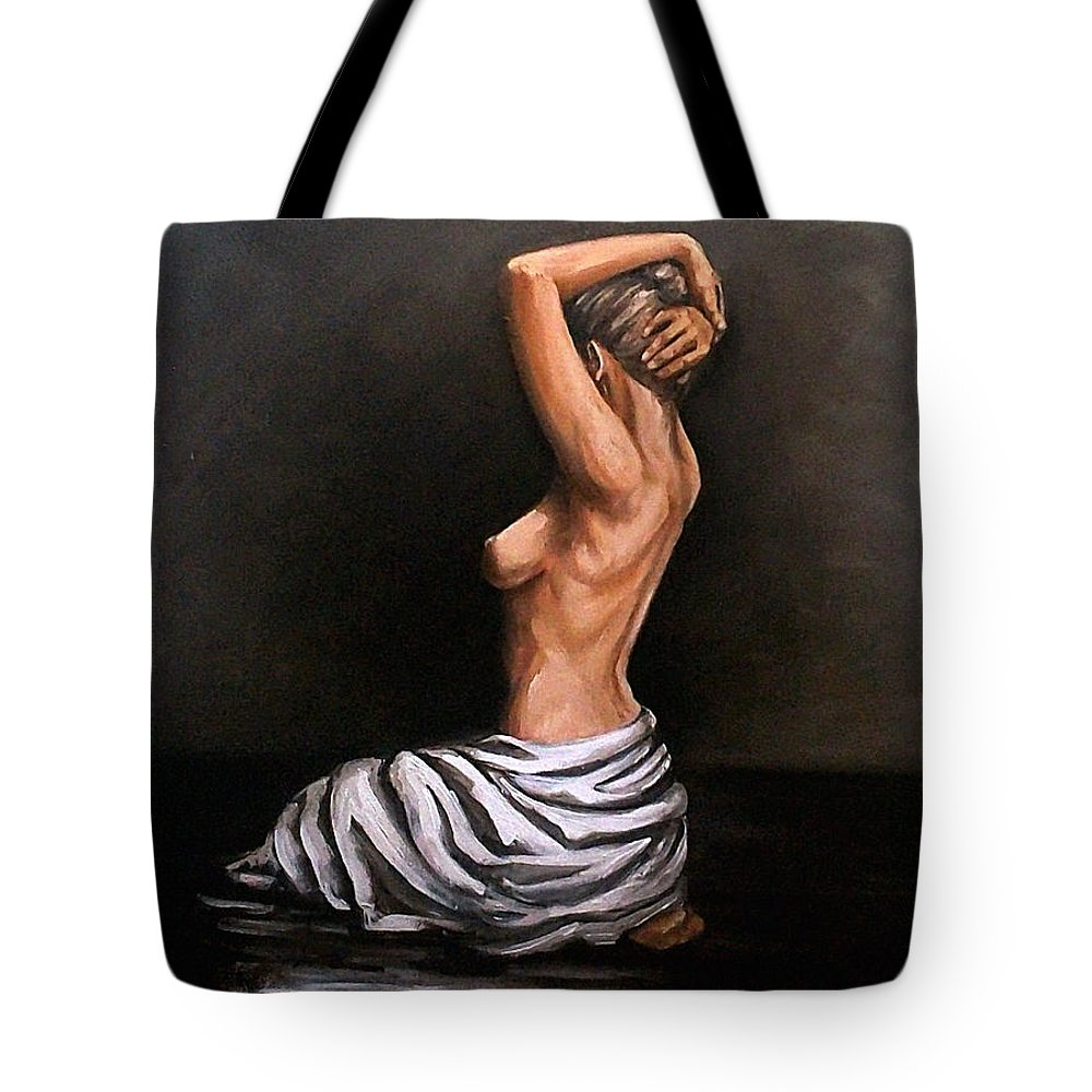 Nude Tote Bag featuring the painting Back Nude by Natalia Tejera