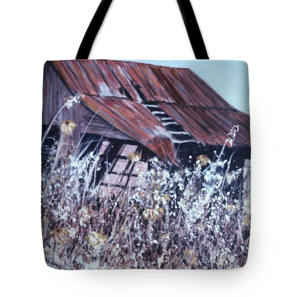 Rustic Tote Bag featuring the painting Barn in Sunlight by Ben Kiger