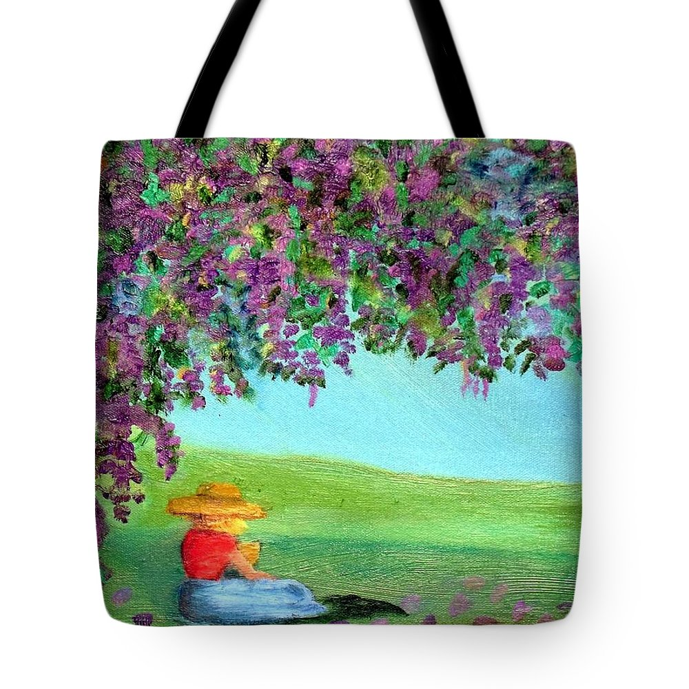 Wisteria Original Oil Painting Tote Bag featuring the painting Beyond The Arbor by Margaret Harmon