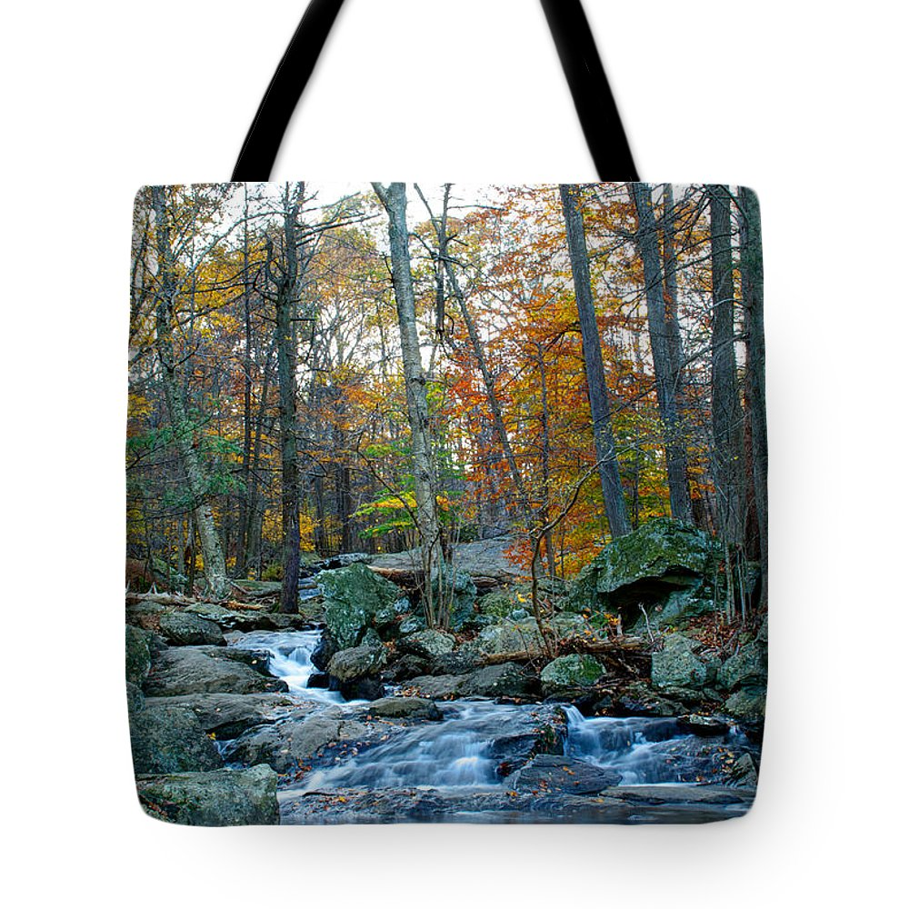 Cunningham Falls Tote Bag featuring the photograph Big Hunting Creek Upstream From Cunningham Falls by Mark Dodd