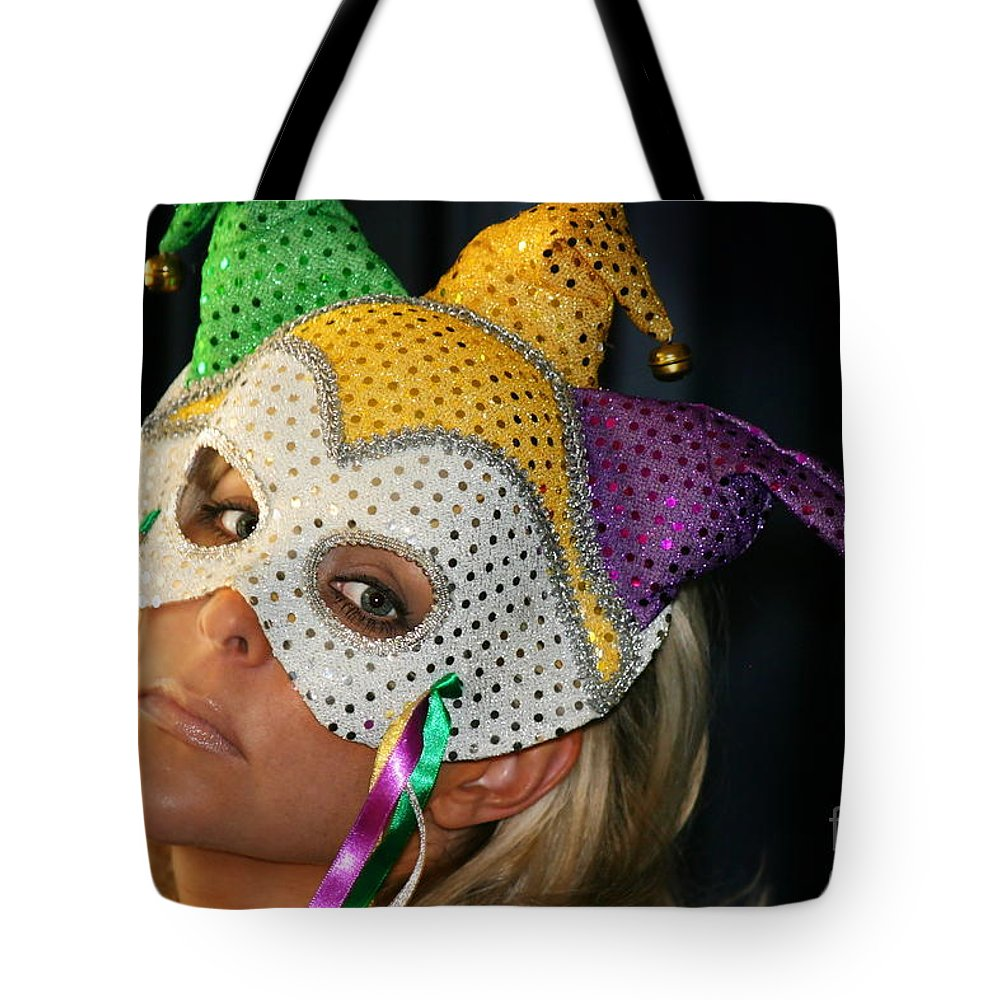 Young Tote Bag featuring the photograph Blond Woman With Mask by Henrik Lehnerer