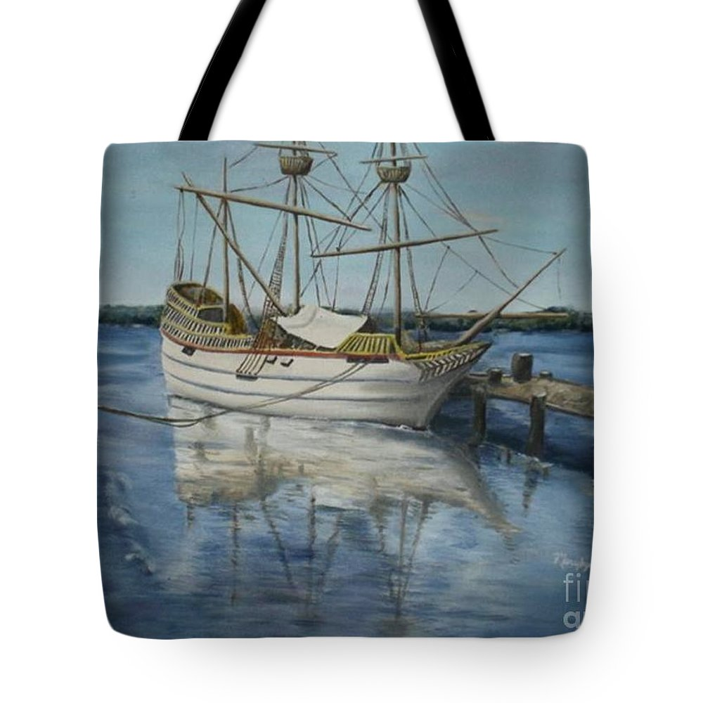 Ship On Water Tote Bag featuring the painting Blue Serenity by Marylyn Wiedmaier