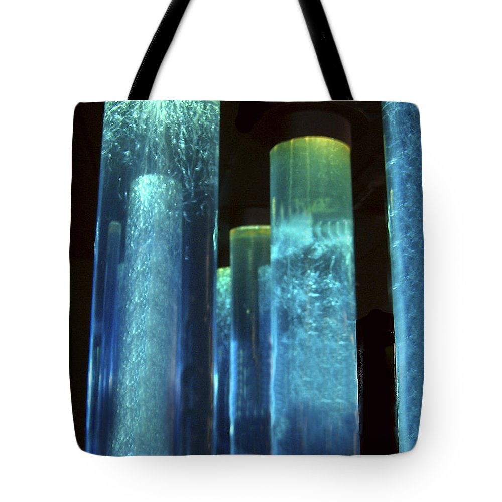 Blue Tubes Tote Bag featuring the photograph Blue Tubes by Denise Keegan Frawley