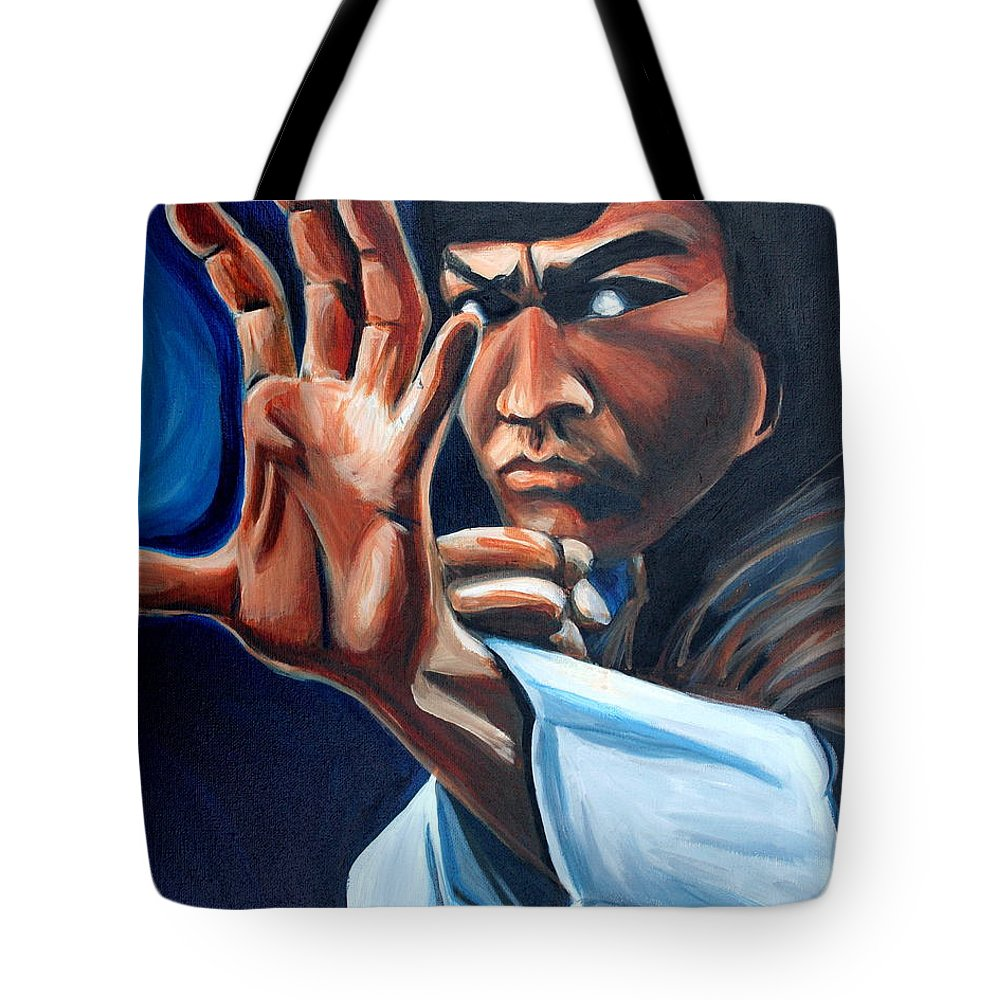 Tote Bag featuring the painting Bruce Lee by Kate Fortin