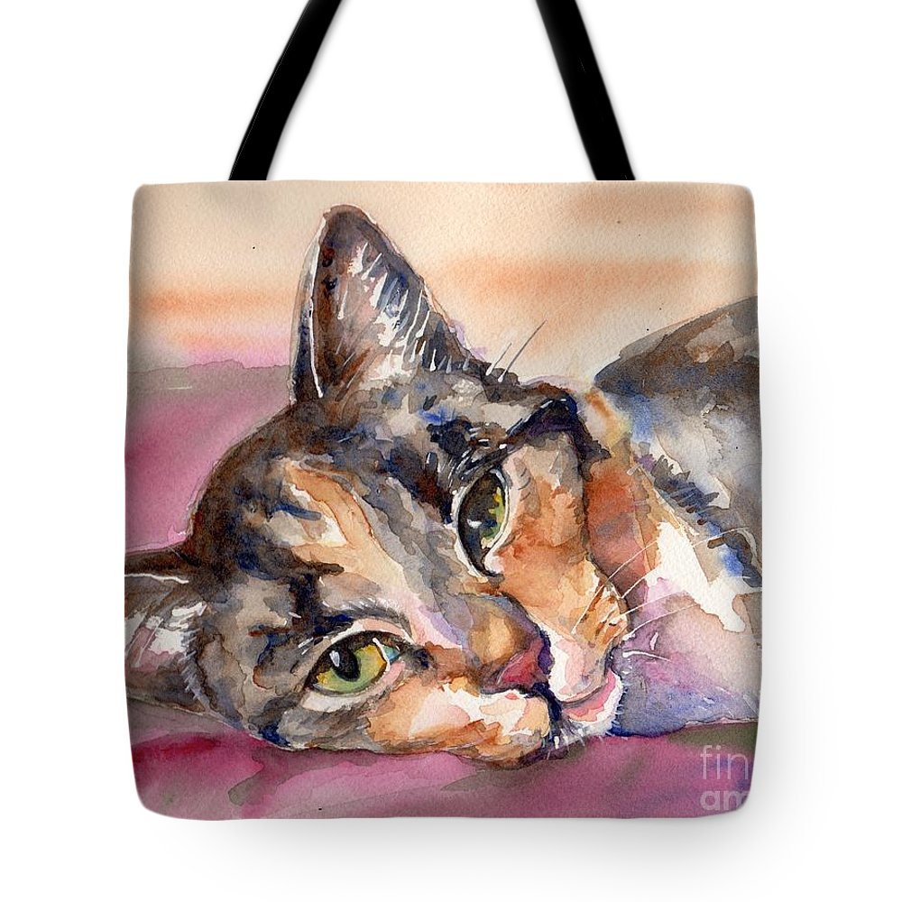 Cat Painting Tote Bag featuring the painting Calico Kitty by Maria Reichert