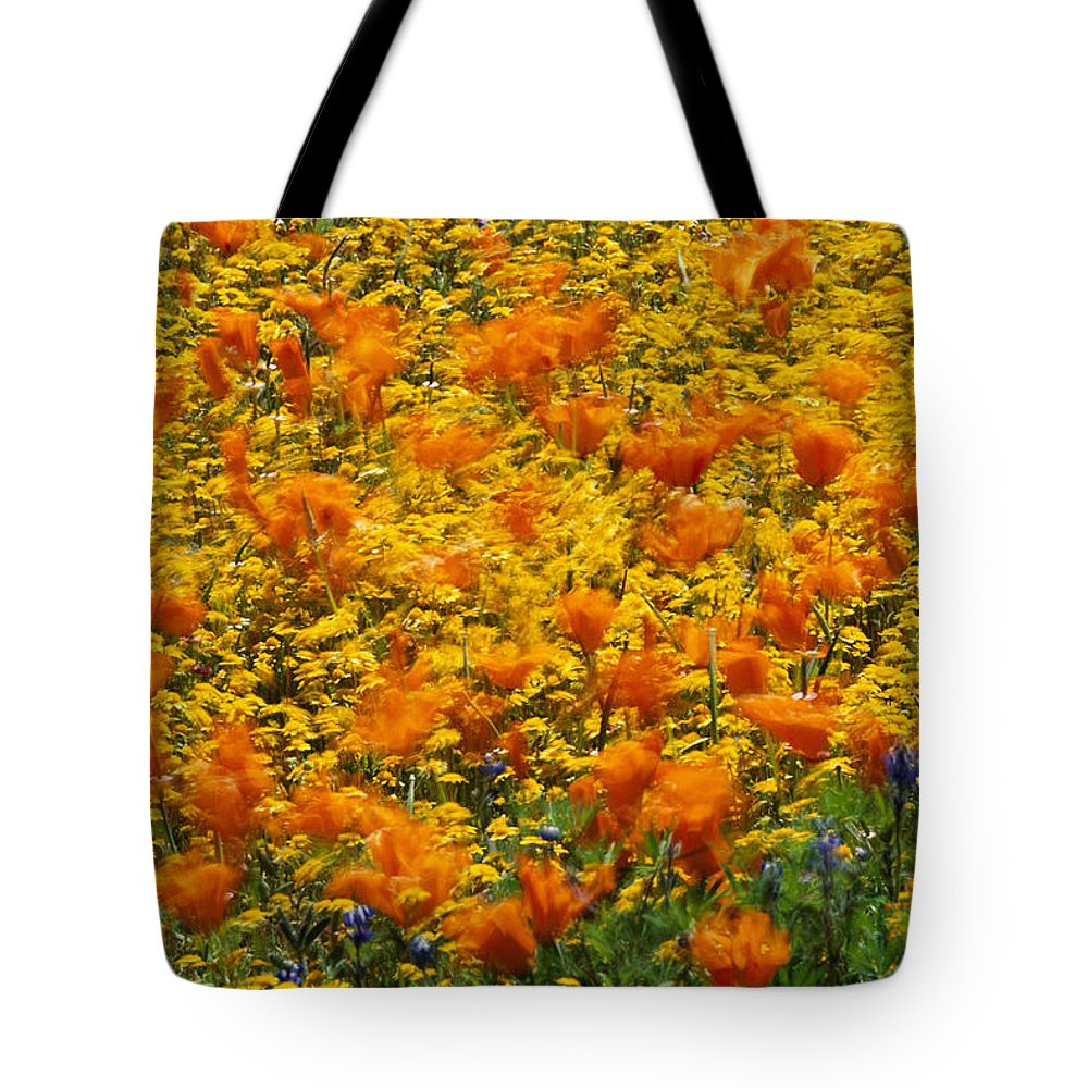 Fields Tote Bag featuring the photograph California Poppies And Goldfields Dance by Jonathan Blair