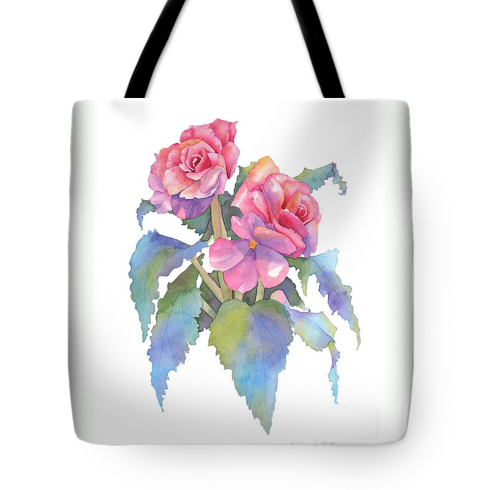 Begonias Tote Bag featuring the painting Carmel Begonias by Pat Yager
