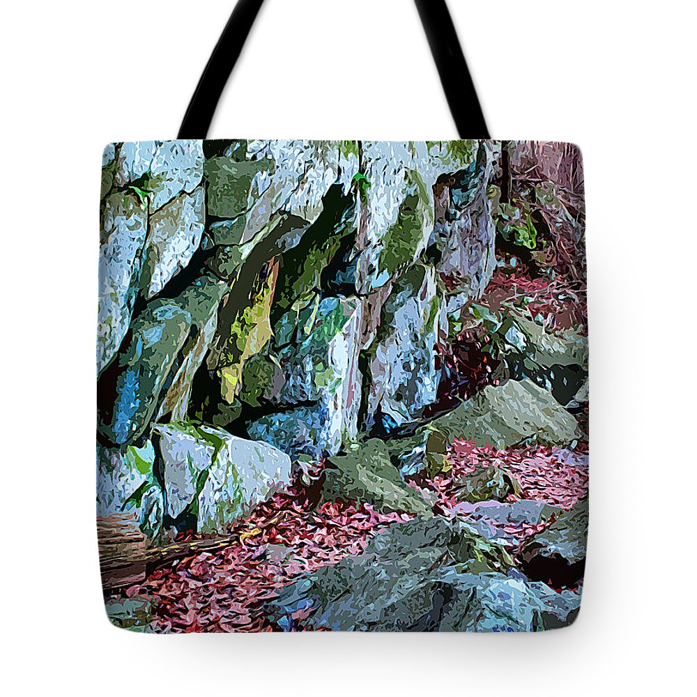 Catoctin Mountain Park Tote Bag featuring the digital art Catoctin Rock by Stephen Younts