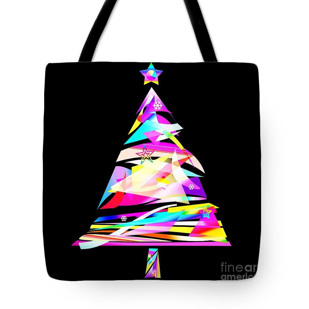 Paper Tote Bag featuring the painting Christmas Tree Design by Setsiri Silapasuwanchai