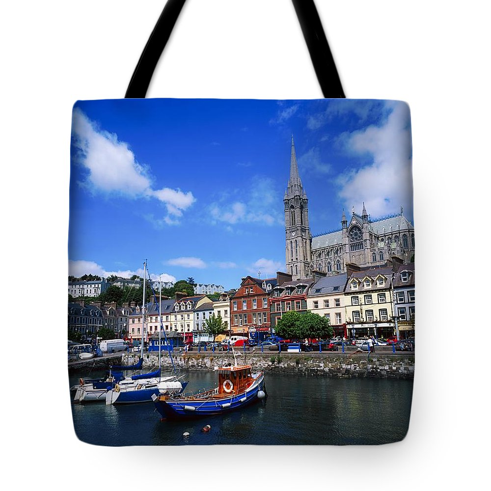 Blue Sky Tote Bag featuring the photograph Cobh Cathedral & Harbour, Co Cork by The Irish Image Collection