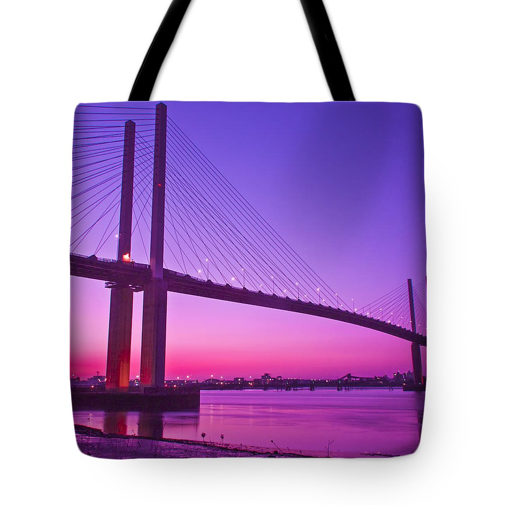 Dartford River Crossing Tote Bag featuring the photograph Dartford Bridge by Dawn OConnor