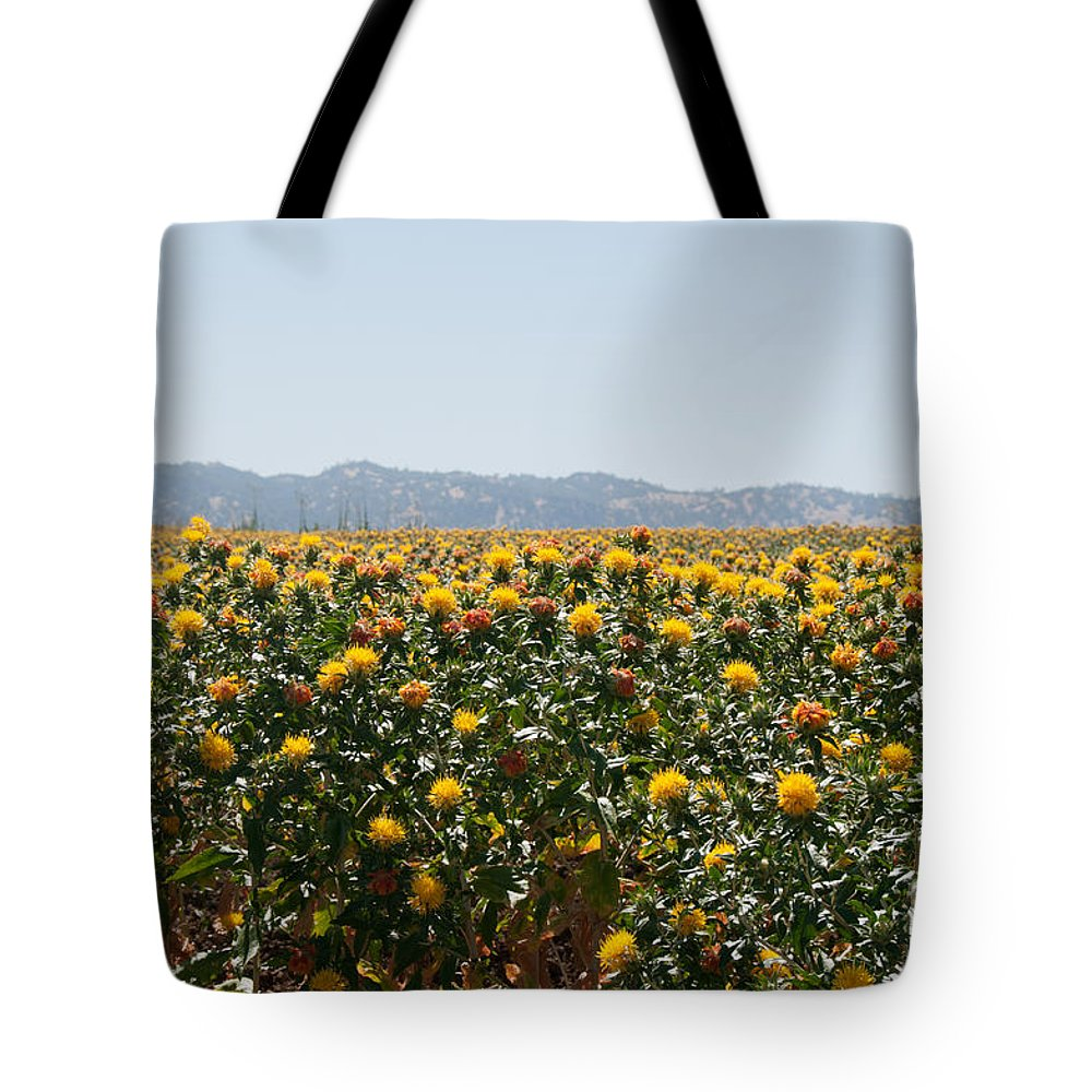 California Tote Bag featuring the digital art Fields Of Safflowers by Carol Ailles