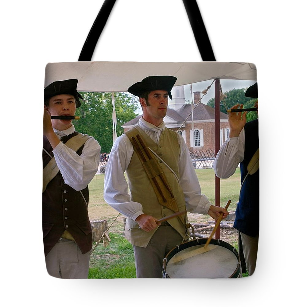 3 Young Men Playing Fifes & Drum Tote Bag featuring the photograph Fifes And Drums by Sally Weigand