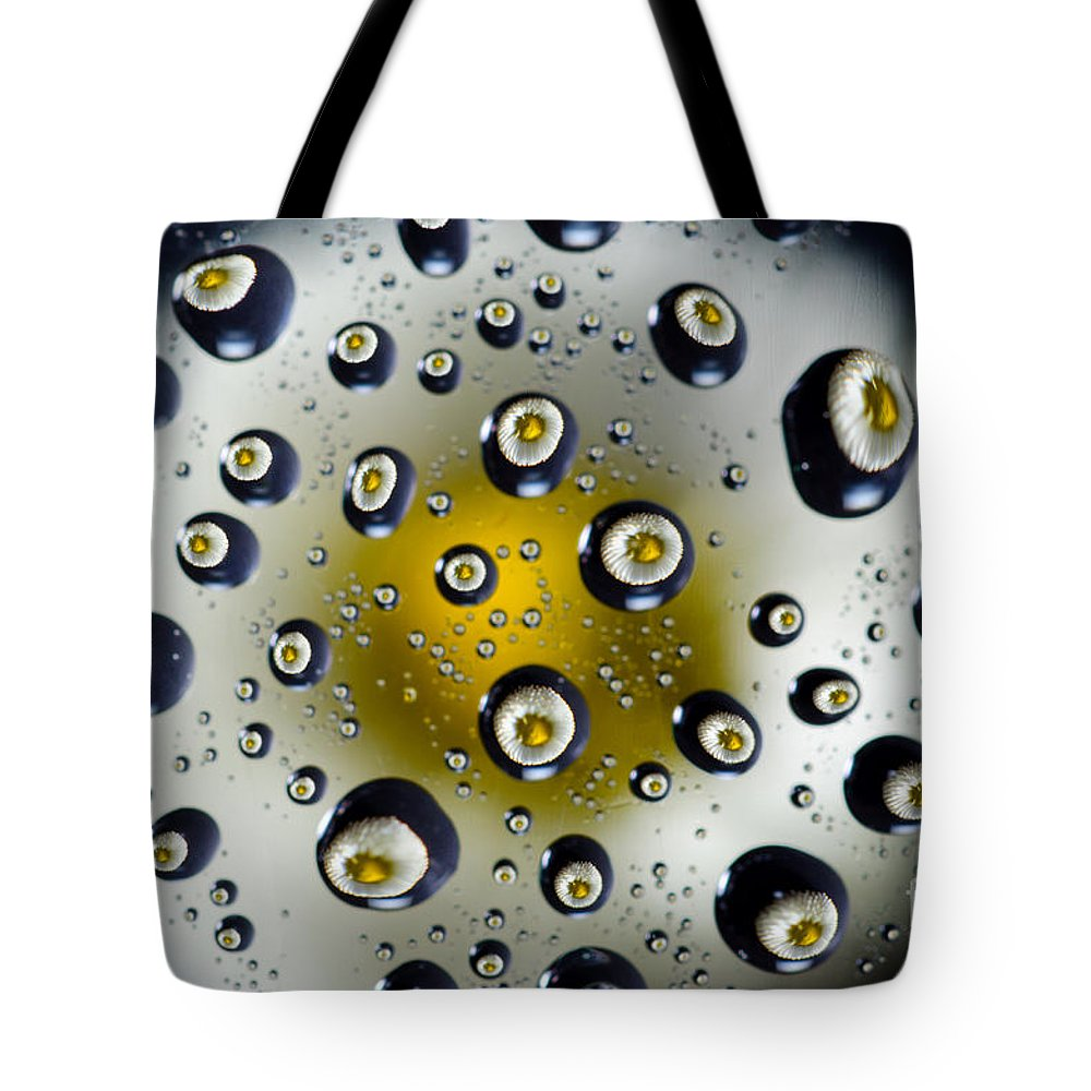 Flower Tote Bag featuring the photograph Flowers In Water Drops by Mats Silvan