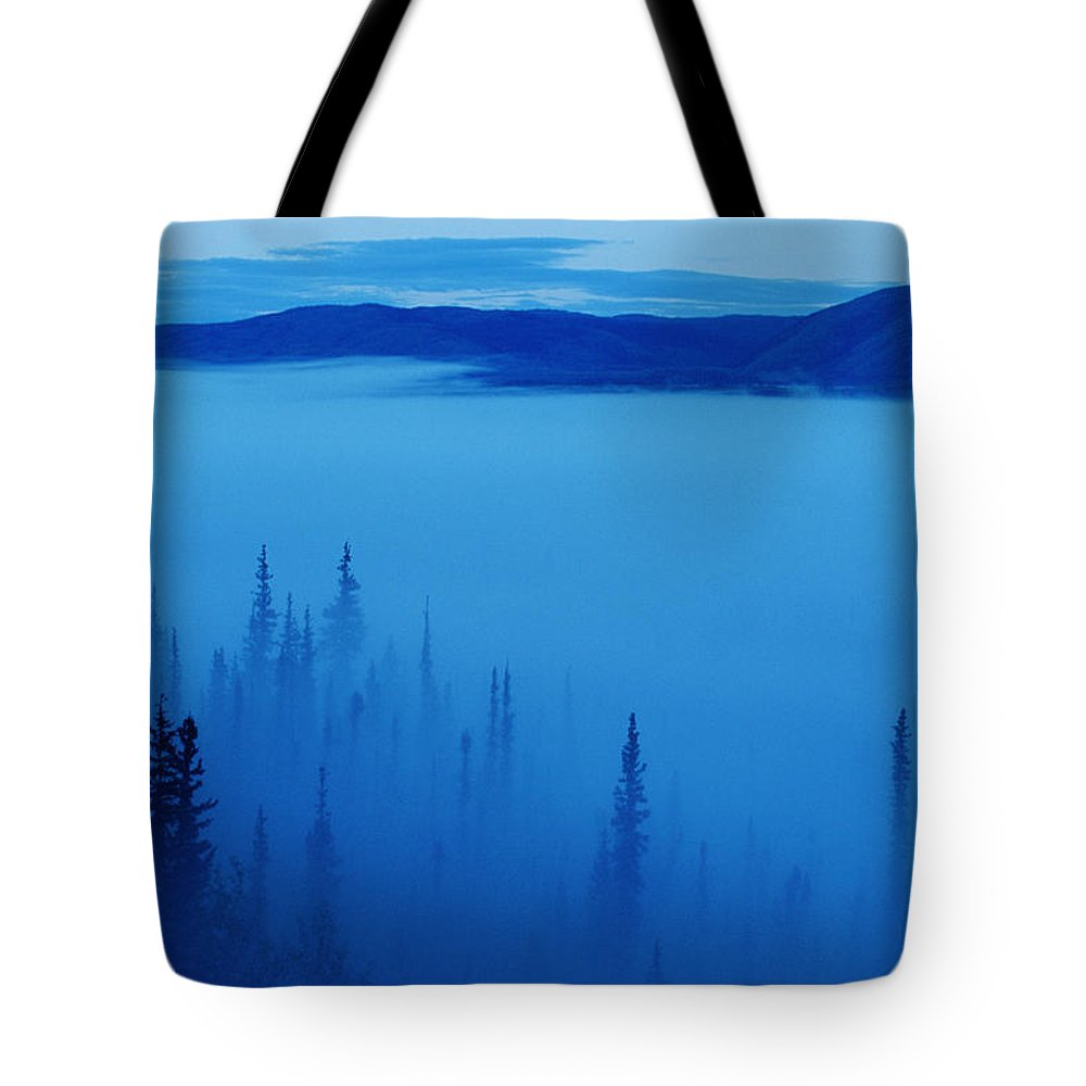 Color Image Tote Bag featuring the photograph Fog At Dawn, Stewart Crossing, Yukon by Mike Grandmailson