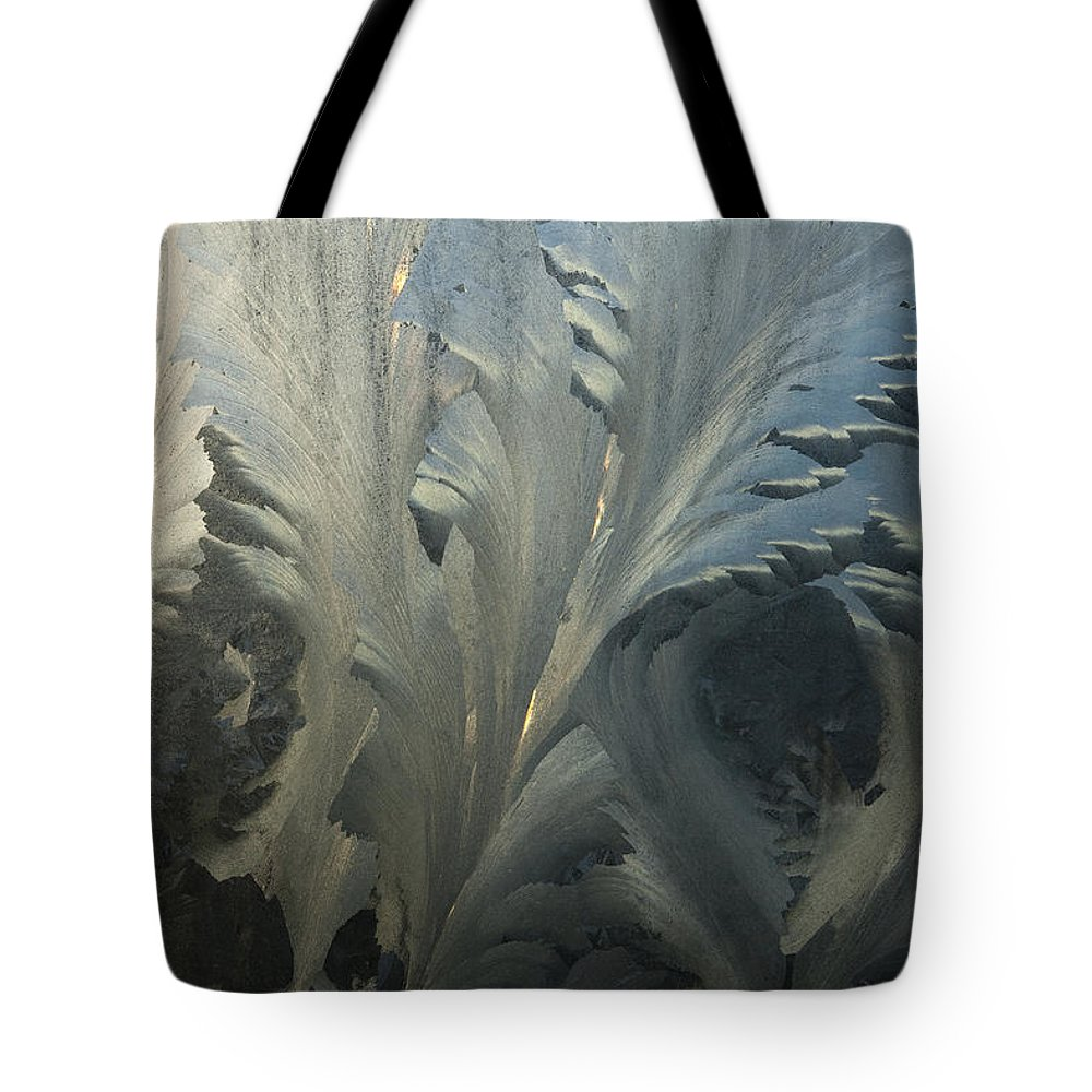Hhh Tote Bag featuring the photograph Frost Crystal Patterns On Glass, Ross by Colin Monteath