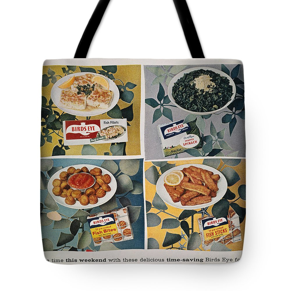 -domestic- Tote Bag featuring the photograph Frozen Food Ad, 1957 by Granger