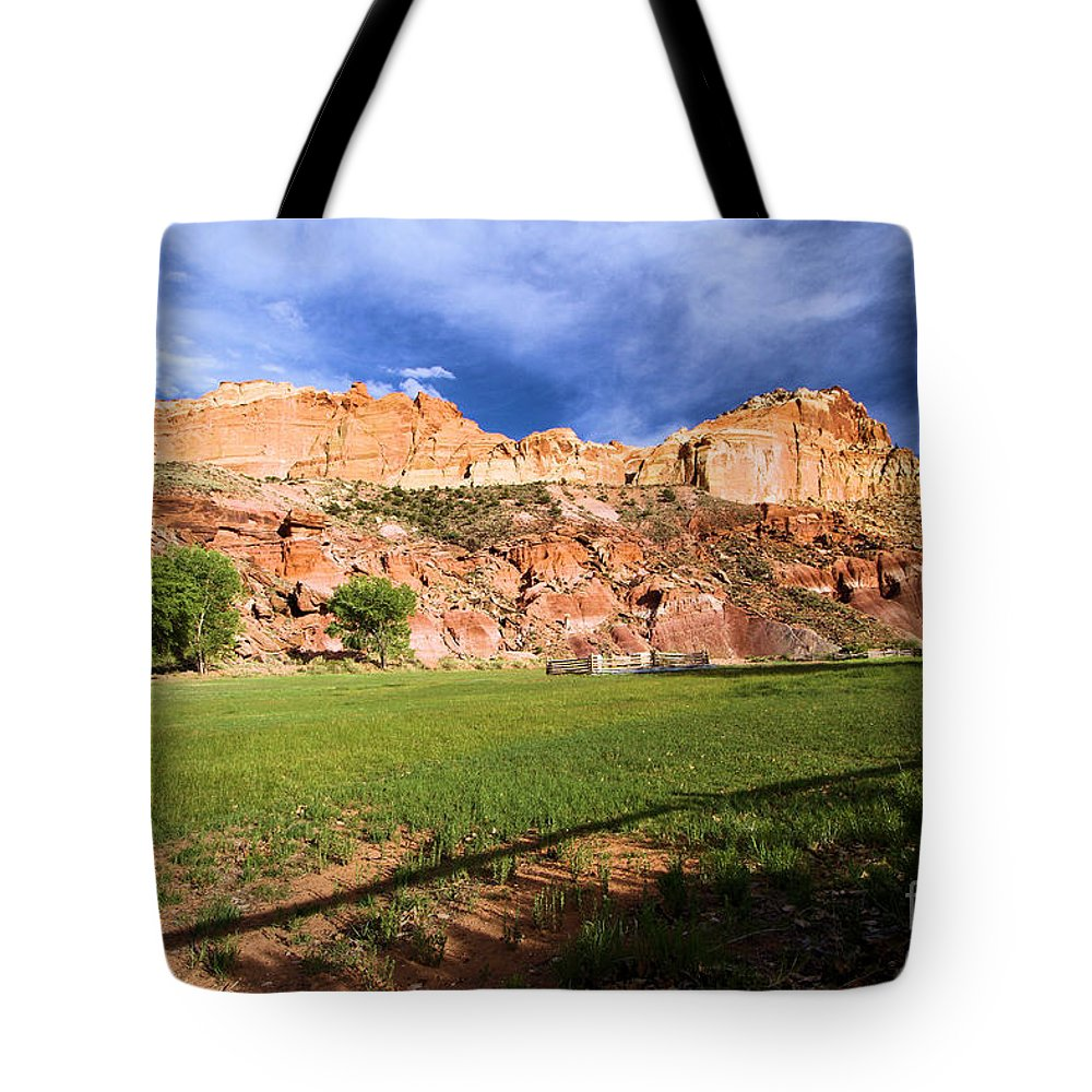 Capitol Reef National Park Tote Bag featuring the photograph Fruita Historic District by Adam Jewell