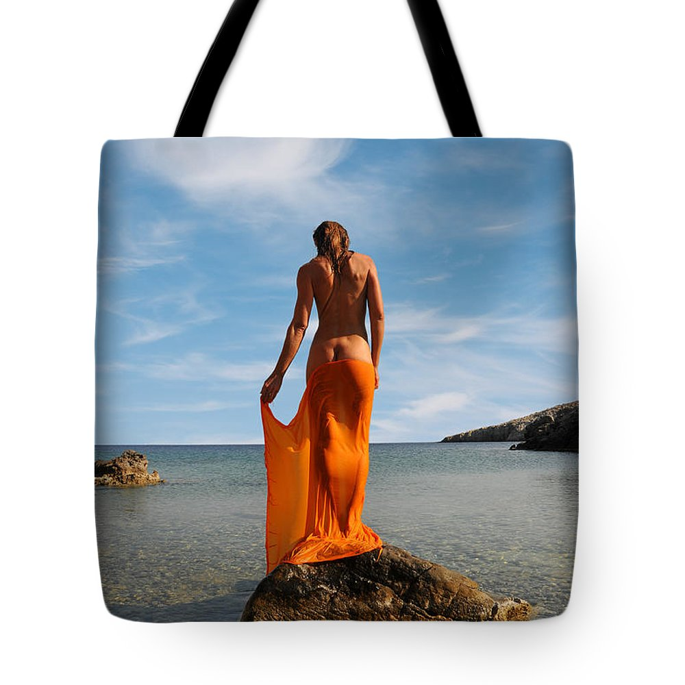 Woman Tote Bag featuring the photograph Girl With The Orange Veil by Manolis Tsantakis