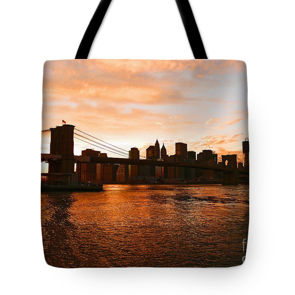 Brooklyn Bridge Tote Bag featuring the photograph Golden Memories by Kendall Eutemey