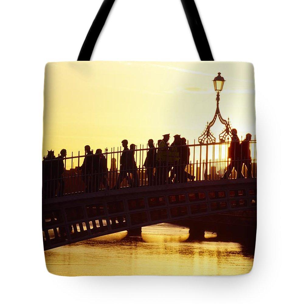 Bridge Tote Bag featuring the photograph Hapenny Bridge, Dublin, Co Dublin by The Irish Image Collection