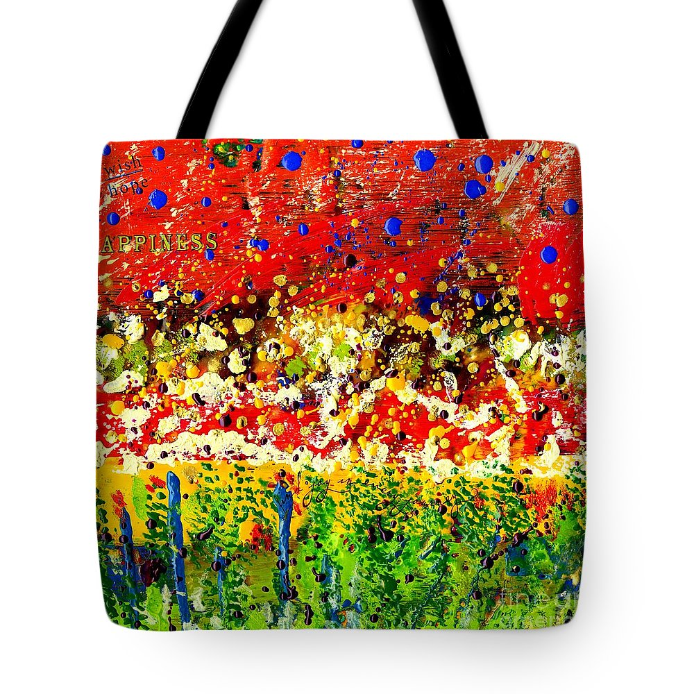 Wood Tote Bag featuring the mixed media Happiness by Angela L Walker