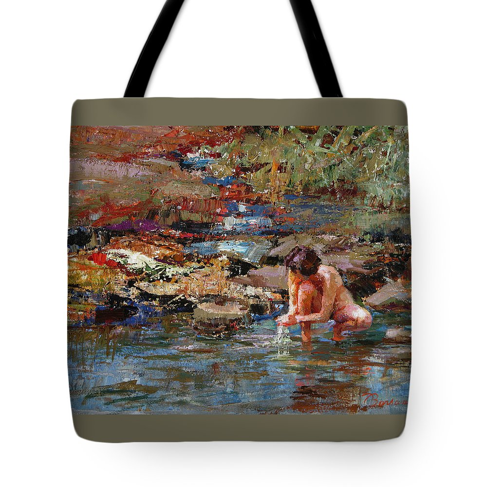 Nude Tote Bag featuring the painting Healing Water by Ron Barsano