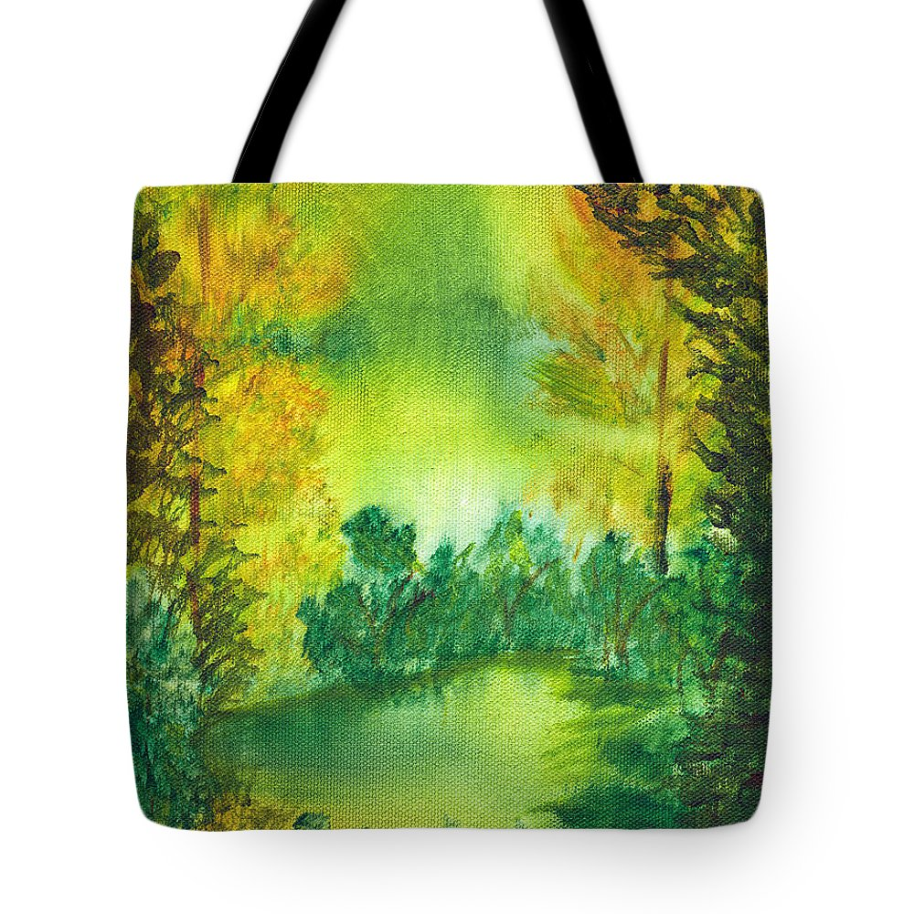 Landscapes Tote Bag featuring the painting Hidden Pond by LeeAnn McLaneGoetz McLaneGoetzStudioLLCcom