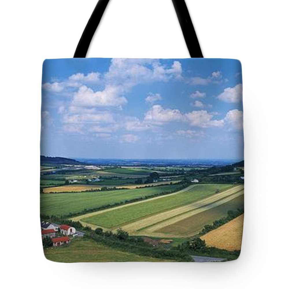Agricultural Industry Tote Bag featuring the photograph High Angle View Of Fields, Stradbally by The Irish Image Collection