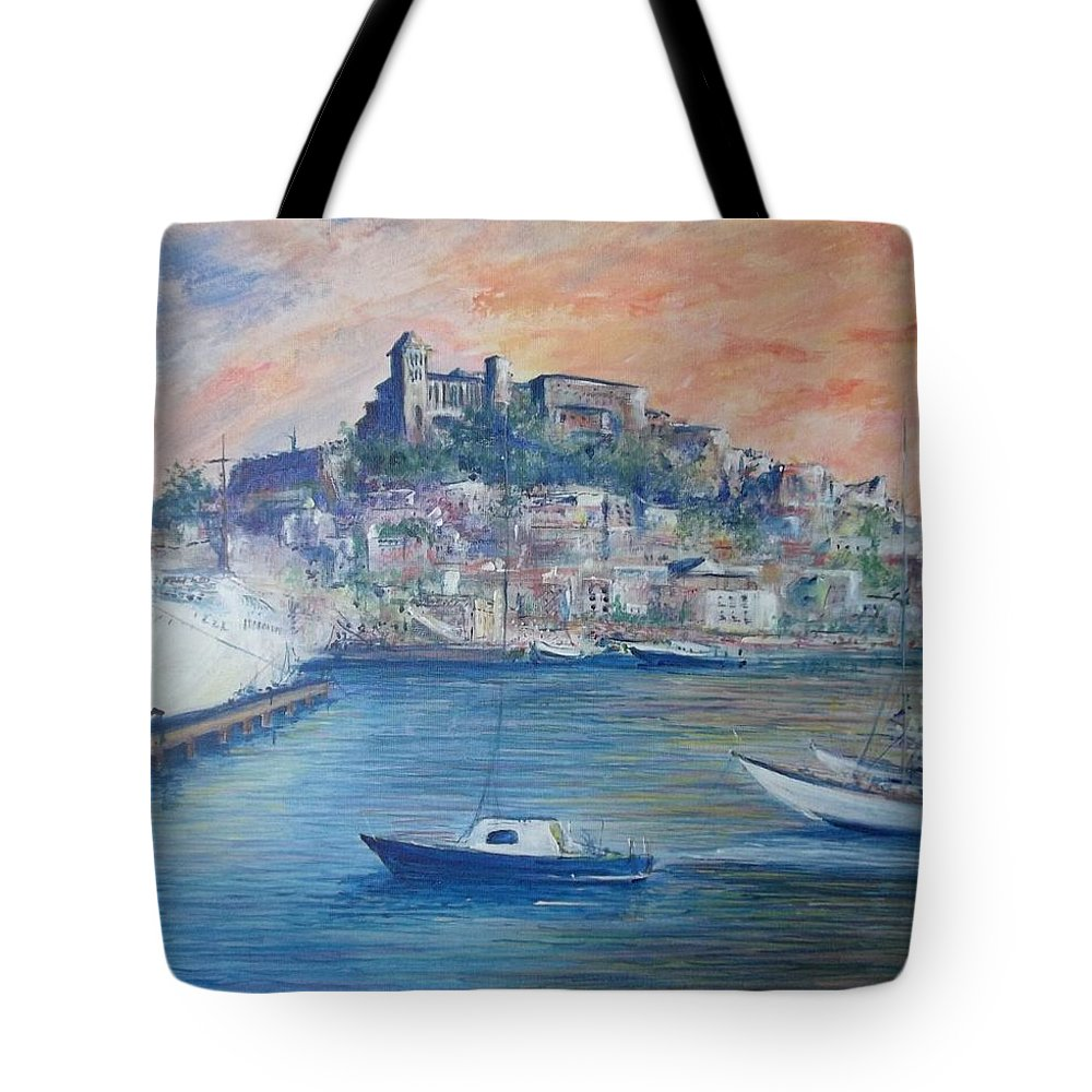 Seascape Tote Bag featuring the painting Ibiza Old Town Marina and Port by Lizzy Forrester