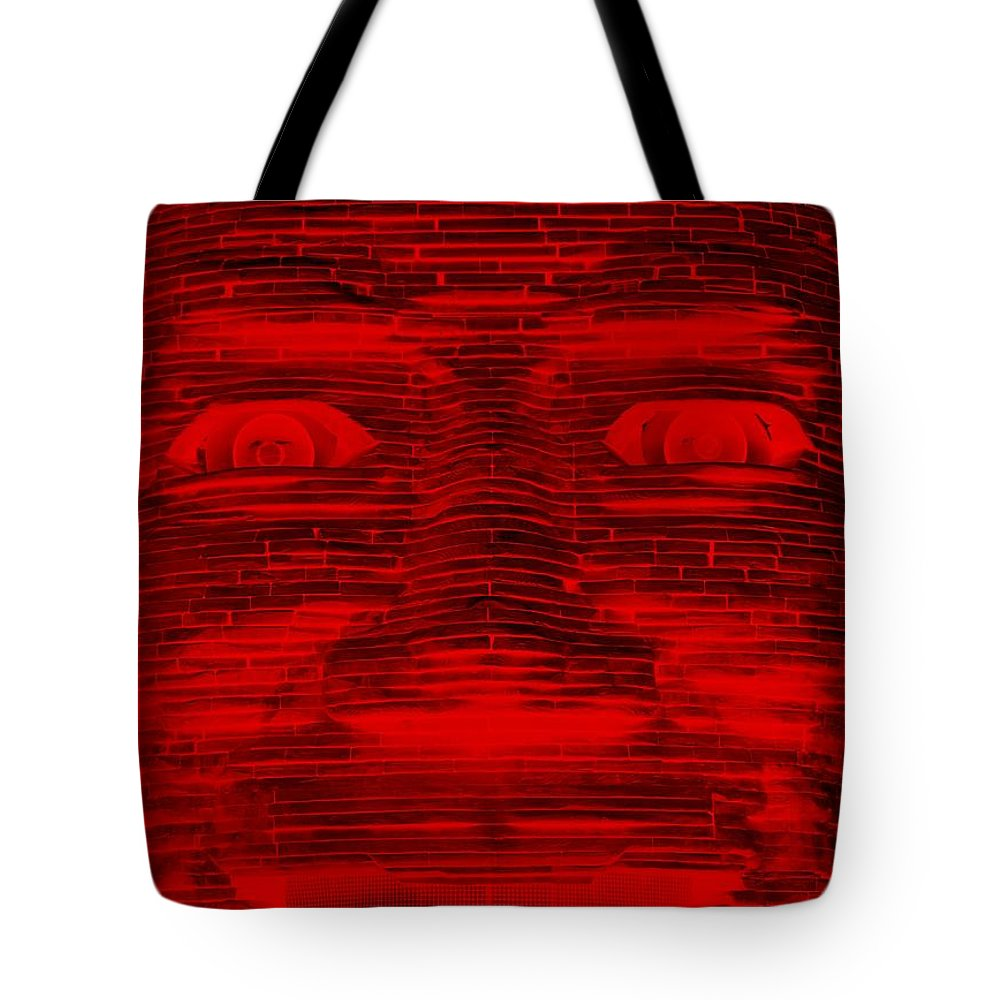 Architecture Tote Bag featuring the photograph In Your Face In Negative Red by Rob Hans