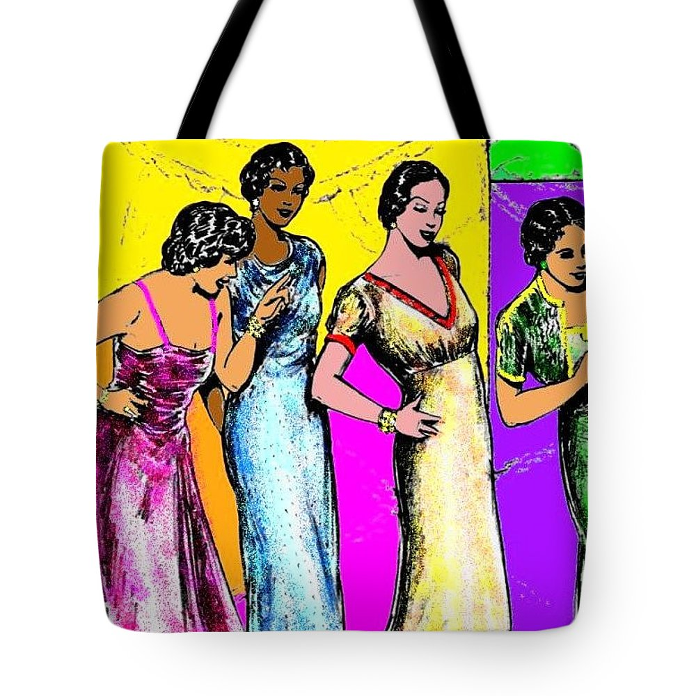 Nostalgia Tote Bag featuring the drawing Jazzy Ladies by Mel Thompson