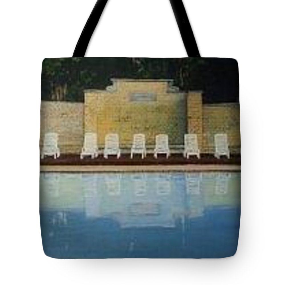 Jekyll Tote Bag featuring the painting Jekyll Island Hotel Pool by John Cecil Smith