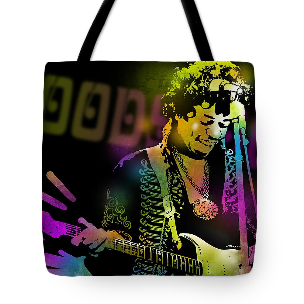 Blues Tote Bag featuring the painting Jimi Hendrix by Paul Sachtleben