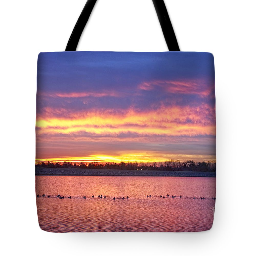 Sunrise Tote Bag featuring the photograph Lagerman Reservoir Sunrise by James BO Insogna